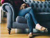 use these fabrics for a dog friendly home; blue gray sofa, tufted sofa, living room design, interior design