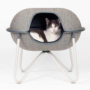 Grey/White Herringbone Woven Fabric Pod with Silver Steel Frame Grey Fleece / Black Microfiber Interior Liner