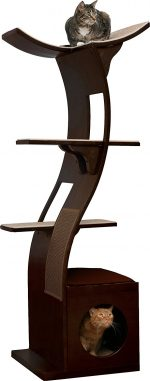 espresso cat tower with three perch options, curvilinear lines, a hide-a-way cubby, and sisal for scratching